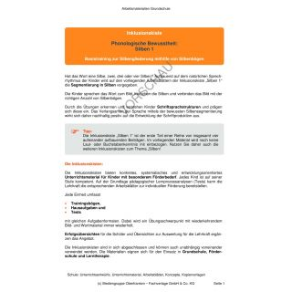 Phonologische Bewusstheit - Silben 1 (1. Klasse)