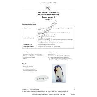 Tierlexikon »Pinguine« - ein Lesefertigkeitstrainig (2. Klasse)