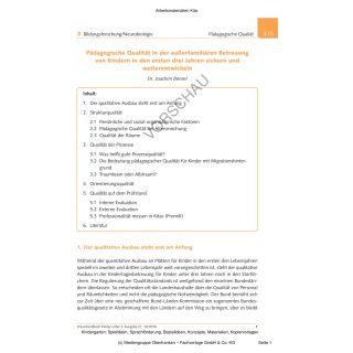 Pädagogische Qualität in der außerfamiliären Betreuung von Kindern in den ersten drei Jahren sichern und weiterentwickeln