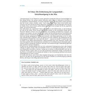 Die Entdeckung der Langsamkeit - Entschleunigung in der Kita