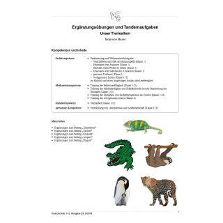 """""""Ergänzungsübungen und Tandemaufgaben Unser Tierlexikon"""""""