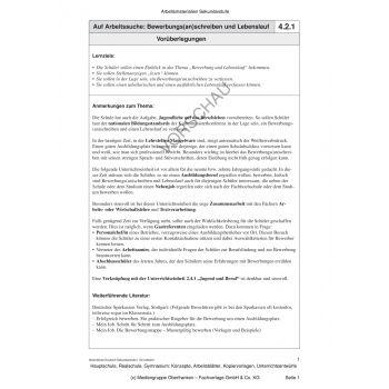 Auf Arbeitssuche: Bewerbungs(an)schreiben und Lebenslauf