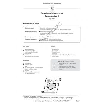 Einmaleins-Schatzsuche (2. Klasse)