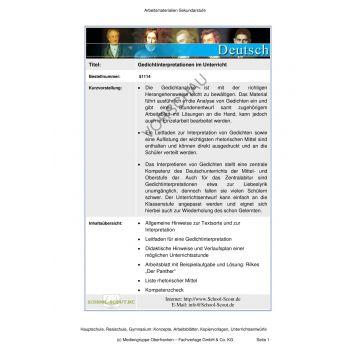 Gedichtinterpretationen im Unterricht (9.-13 Klasse)